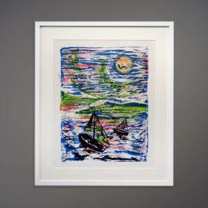1970s A. Laurie Sailboats Silkscreen Print