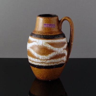 scheurich-jug-handle-striped-fat-lava-vase