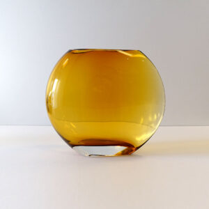 krosno-poland-large-amber-ombre-glass-vase