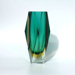 mandruzzato-style-vintage-green-yellow-faceted-block-vase