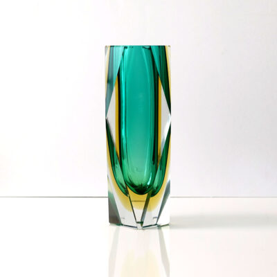 mandruzzato-style-vintage-green-yellow-faceted-block-vase-5