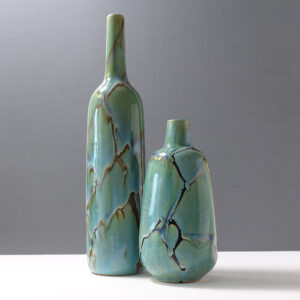 pair-ceramic-decor-vases-marbled-celadon-glaze