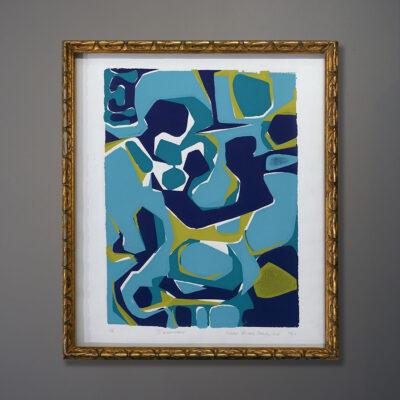 susan-orlie-blue-abstract-gold-vintage-frame