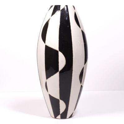 Black White Abstract Ceramic Vase-5