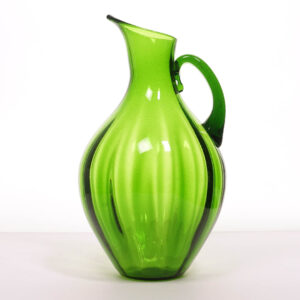 blenko-optical-ribbed-blown-glass-pitcher
