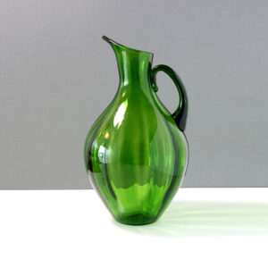 green-optical-ribbed-blown-glass-pitcher