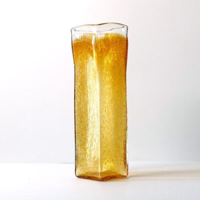 tall-square-seeded-amber-art-glass-vase