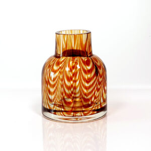 Tiger's Eye Modernist Feathered Glass Vessel