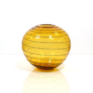 very-thin-amber-ball-vase-applied-threading