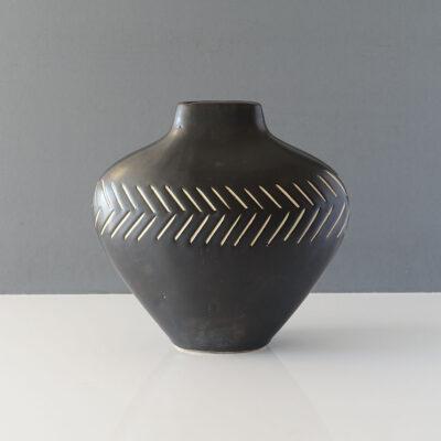matte-black-incised-pattern-modernist-vase