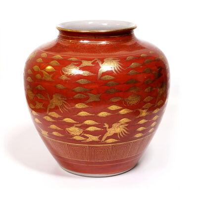 Asian Urn Peacock Cloud Pattern