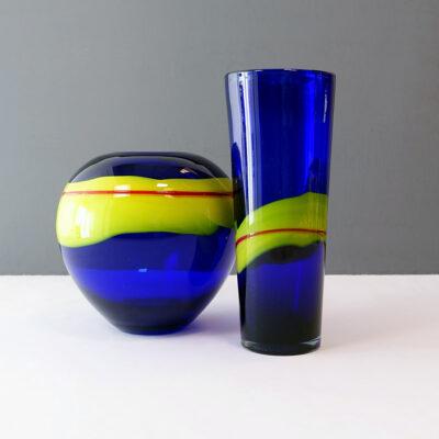 cobalt-blue-yellow-red-stripe-art-glass-tall-vase