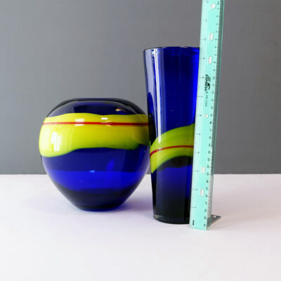 cobalt-blue-yellow-red-stripe-art-glass-vase-3