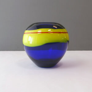 cobalt-blue-yellow-red-stripe-art-glass-vase