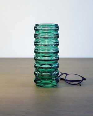 2018-036-Green-Faceted-Cut-Glass-Vase