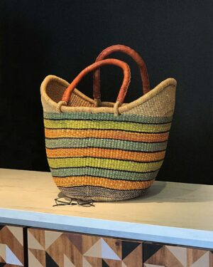 2018-074-Large-Leather-Handled-Woven-Beach-Tote