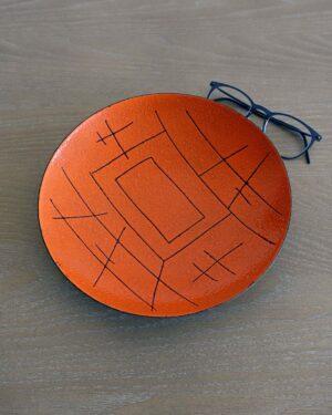 2018-094-Enamel-Valenti-Italy-Orange-Abstract-Lines-Plate