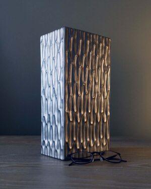 2018-166-large-gray-metallic-op-art-pattern-square-vase-ray-design-shop-greenport-NY
