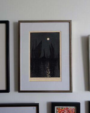 2018-231-Soleil Couchant-Honfleur-print-champagne-frame