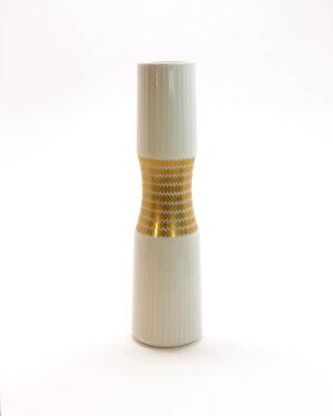 Thomas Porcelain Hourglass Gold White Bud Vase-C1