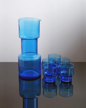2018-421-blue-barbell-pitcher-set-five-cordial-glasses