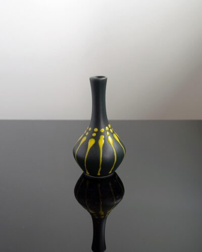 2018-426-Taller-Fat-Lava-Black-Yellow-Drip-Glaze-Orb-Shape-Weed-Pot-Feelie-Bud-Vase