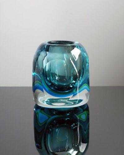 2018-431-murano-blue-green-orb-block-vase-candle-holder-trinket-dish