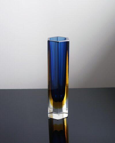 2018-434-murano-sommerso-blue-yellow-hexagon-block-vase