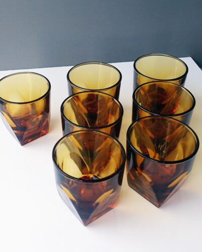 2018-449C-hazel-atlas-amber-faceted-tumblers-set-of-seven