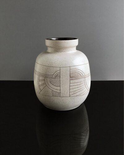 2018-451-Lapid-Israel-Signed-Yoal-Large-Round-Stoneware-Vase