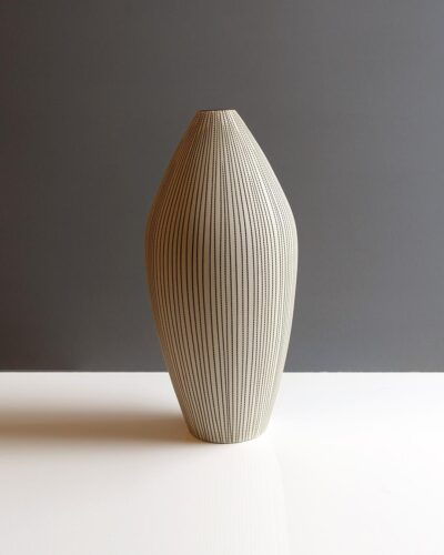 458-tapered-sepia-striped-matte-glaze-light-tan-thailand-vase