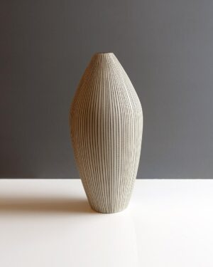 tapered-sepia-striped-matte-glaze-light-tan-thailand-vase