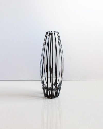 tall-black-dimpled-striped-art-glass-vase-2