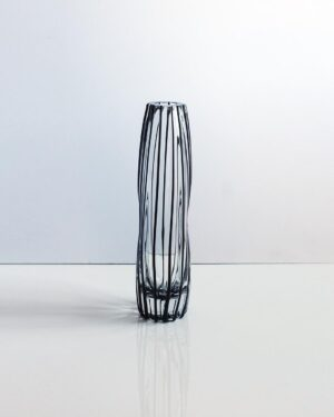 tall-black-dimpled-striped-art-glass-vase