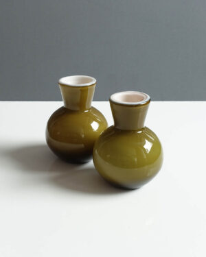ekenas-glasbruk-olive-green-cased-glass-bud-vase-pair