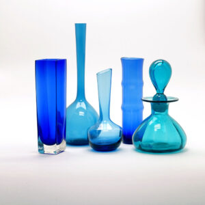 group-of-blue-blown-glass