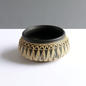 Gmundner-Keramik-Austrian-black-raffia-wrapped-bowl