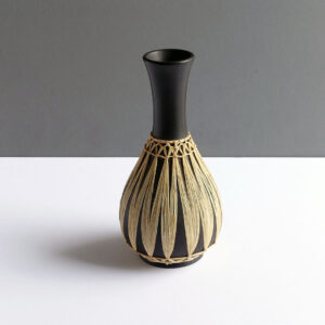 Gmundner-Keramik-Austrian-black-raffia-wrapped-long-neck-vase