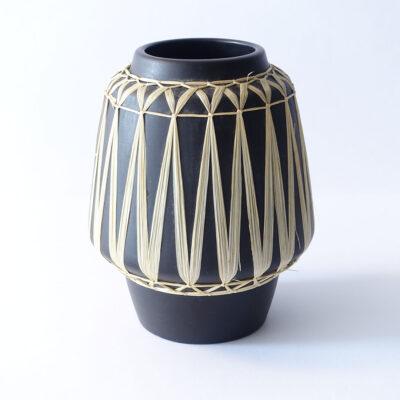 Gmundner Keramik Austrian Black Raffia Wrapped Wide-mouth Vase-1