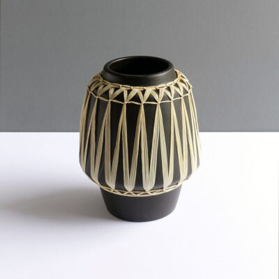 Gmundner-Keramik-Austrian-black-raffia-wrapped-wide-mouth-vase