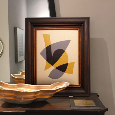 Small Abstract Painting in Vintage Hardwood Frame