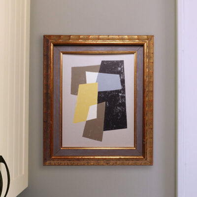 Small Abstract Painting in Vintage Swedish Frame