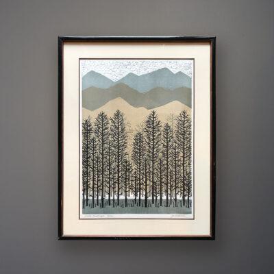 joe-ardourel-winter-landscape-woodcut-orig-frame-wall