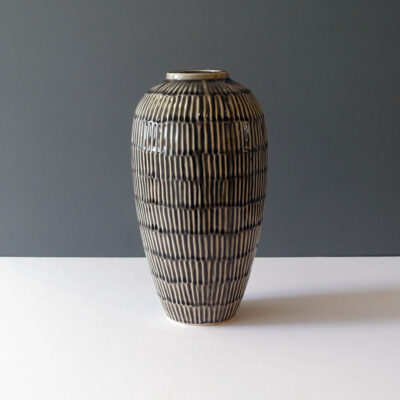 large-sepia-sgrafitto-swelled-form-glossy-ceramic-vase