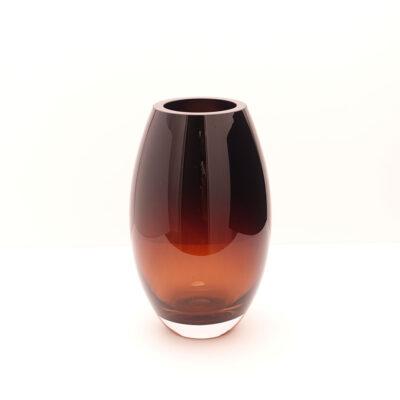 handmade-barrel-shape-heavy-amber-crystal-vase