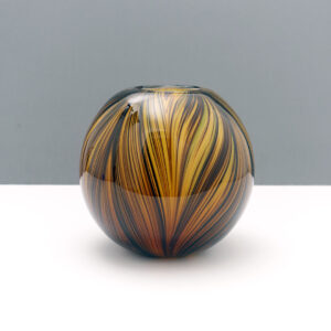ball-shaped-swirl-earth-tone-blown-glass-vase