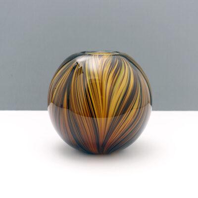 ball-shaped-swirl-earth-tone-blown-glass-vase