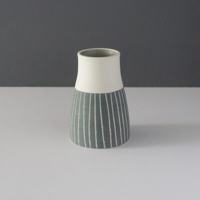 small-tapered-gray-stripe-studio-pottery-vessel