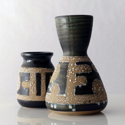 Lapid Israel Hourglass Shape Fat Lava Vase-1