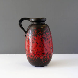 west-german-fat-lava-handled-jug-vase-decanter-pitcher-red-black
